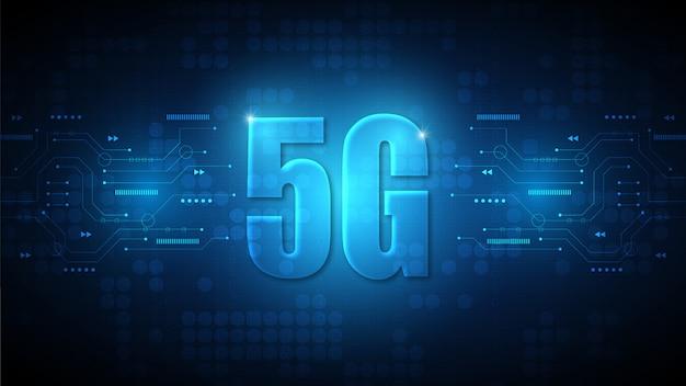 ハイテクデジタルデータ接続システムとコンピューター電子と5g速度回路技術の背景