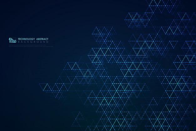 Абстрактный синий треугольник узор 5g футуристический современный фон