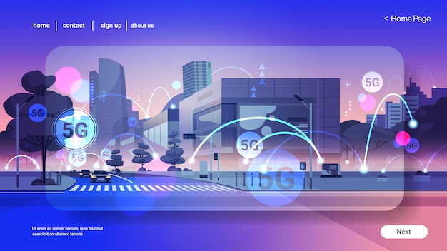Умный город 5g онлайн коммуникационная сеть беспроводных систем связи концепция пятое инновационное поколение глобального высокоскоростного интернета современный городской пейзаж фон плоский горизонтальный копия пространство