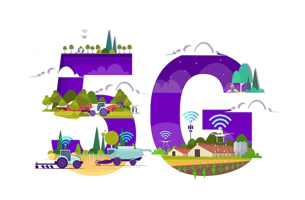 Умная ферма с тракторами-дронами зерноуборочный комбайн 5g беспроводная интернет-связь автоматизация сельского хозяйства концепция инновационная технология сельскохозяйственная компания горизонтальная