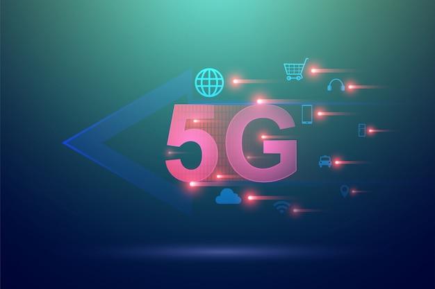 5gワイヤレス高速インターネットとモノのインターネットのコンセプト。高速通信のためのモバイルネットワーク技術