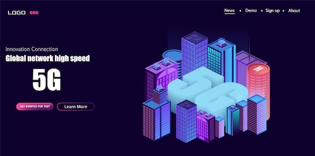 Логотип сети 5g над умным городом с иконками городской инфраструктуры