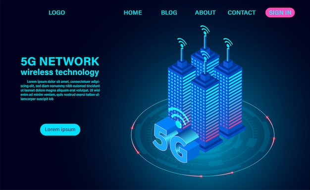 Концепция умного города, здания с 5g символом беспроводного интернета.