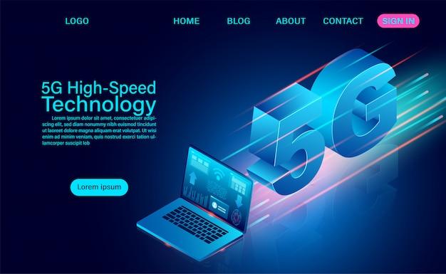 5g高速テクノロジーのコンセプト。ネットワーク通信ワイヤレスインターネット。ネットワーク接続最速のインターネット。等尺性の平らな設計図