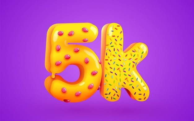 5k or 5000 followers donut dessert sign social media friends thank you followers