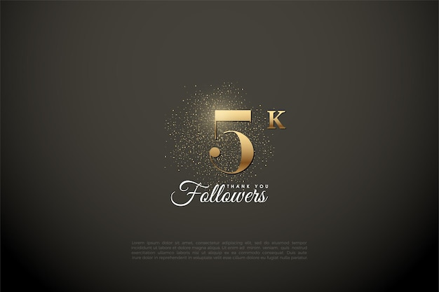 5k followers illustrated with gold number and glitters
