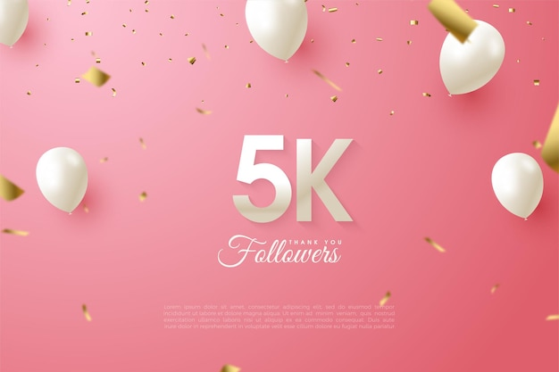 5k followers with ballons and confetti