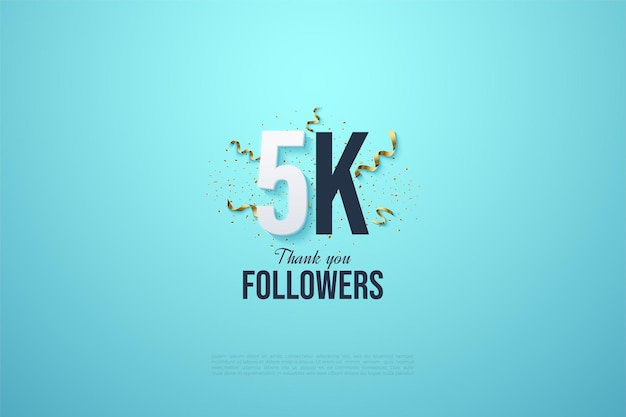 5k followers with black number illustration and party festivities on light blue background.