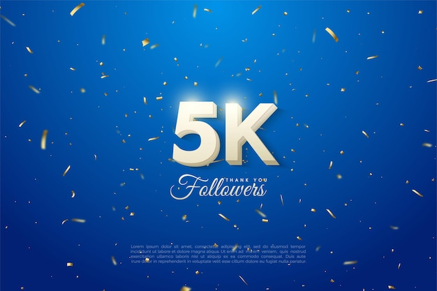 5k followers with bold white 3d number and blue background.