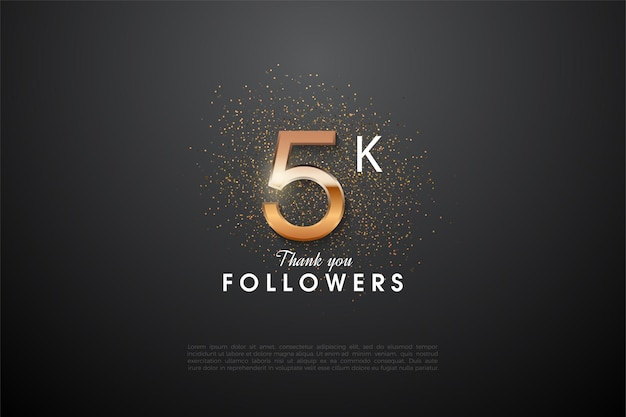 5k followers with a glittering number illustration