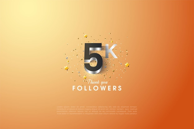 5k followers with glowing silver plated 3d figures illustration.