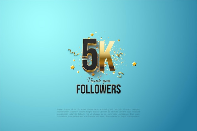 5k followers with gold dialed number and letters.
