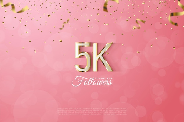 5k followers with gold edged outlined number and letters illustration.