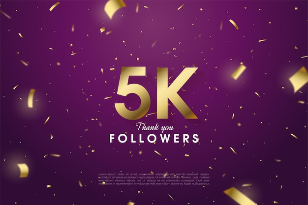 5k followers with golden paper and number illustration