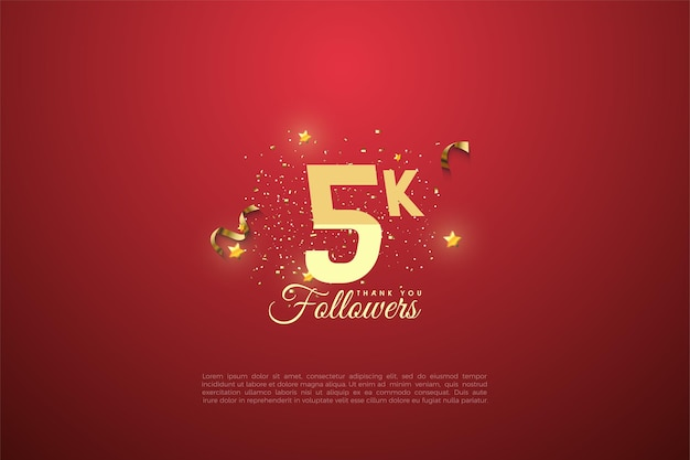 5k followers with graded number on red background.