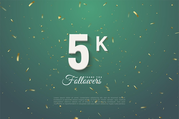 5k followers with green background speckled in gold and white number.