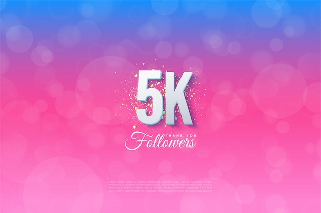 5k followers with illustrated background graded from blue to pink.