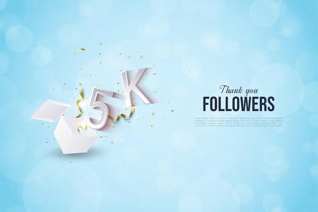 5k последователей с иллюстрацией числа, вырывающегося из шоковой коробки.