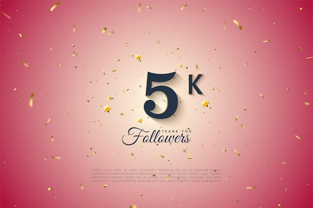 5k followers with number on a gradient pink background.