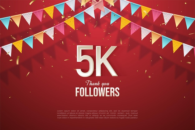5k followers with number illustration amidst colorful flag patterned background.