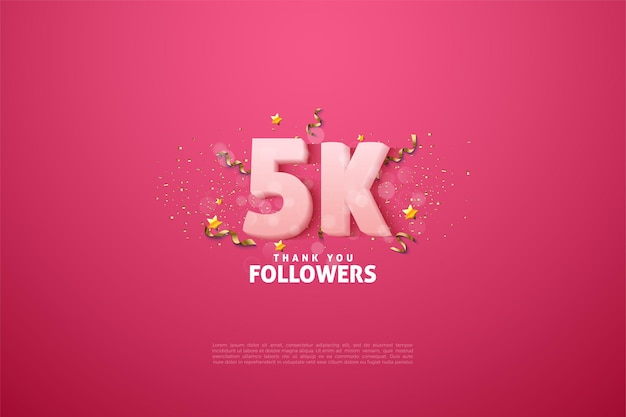 5k followers with number and letters on a pink background.