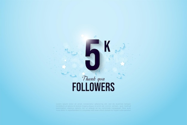 5k followers with number and ribbons