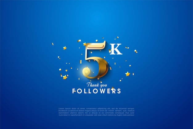5k followers with shining gold number