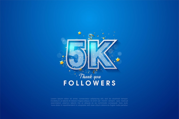 5k followers with white bordered number on a graded dark blue background.
