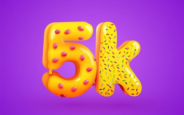 5k 또는 5000 추종자 도넛 디저트 기호 소셜 미디어 친구 추종자 감사