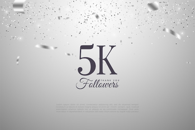 5k retainers with silver ribbons tumbling down the number.
