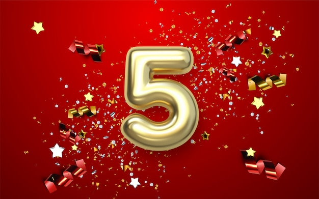 5th anniversary celebration. golden number with sparkling confetti, stars, glitters and streamer ribbons.