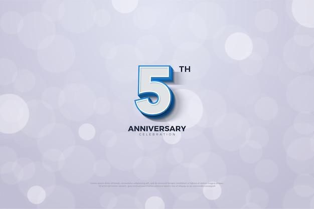 굵은 파란색 테두리 숫자가있는 5 주년.