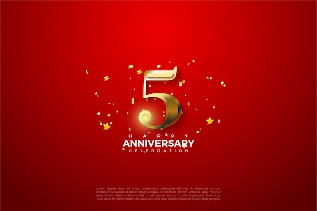5th anniversary with gold numbers on sumptuous red background.