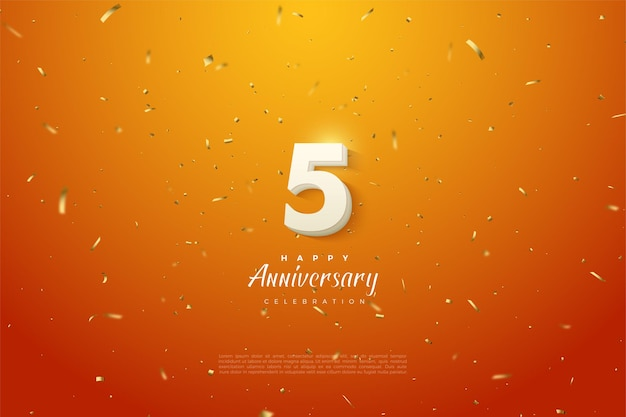 5th anniversary with gold speckled orange background.