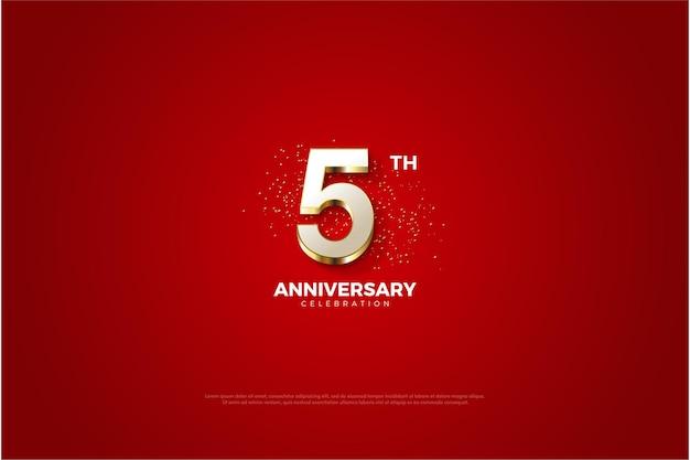 5-я годовщина с роскошными позолоченными цифрами.