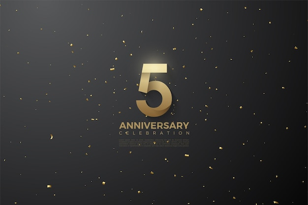 5th anniversary with patterned numbers and background illustration in outer space