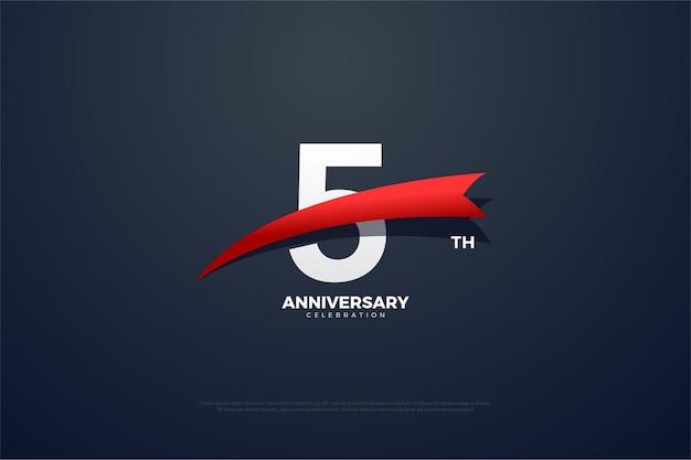 숫자 앞에 붉은 이미지가있는 5 주년.