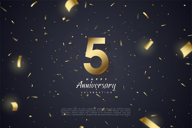 5th anniversary with scattered gold numbers and ribbons.