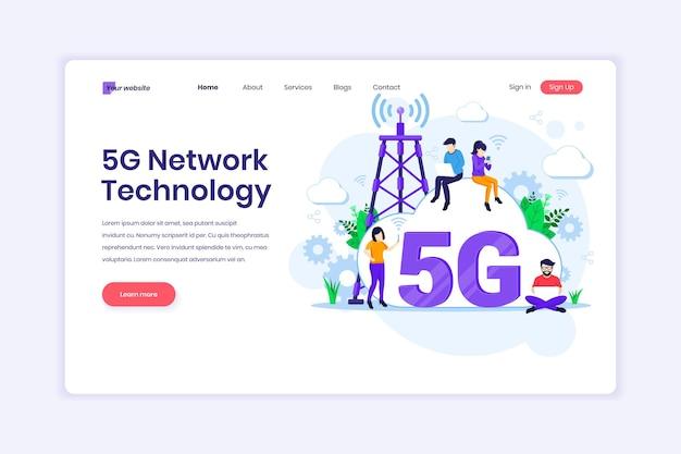 5th 네트워크 기술 고속 무선 연결을 사용하는 사람들 5g 일러스트레이션