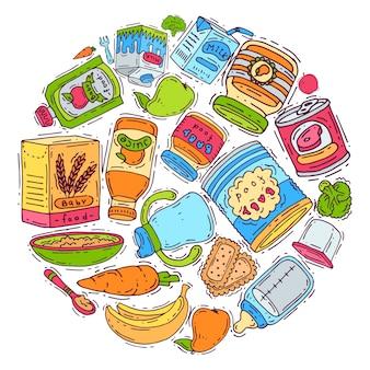 Детские прикорма круг векторные иллюстрации. дополнительное питание для детей от 6 до 8 месяцев. детские бутылочки, пюре, банки и овощи.