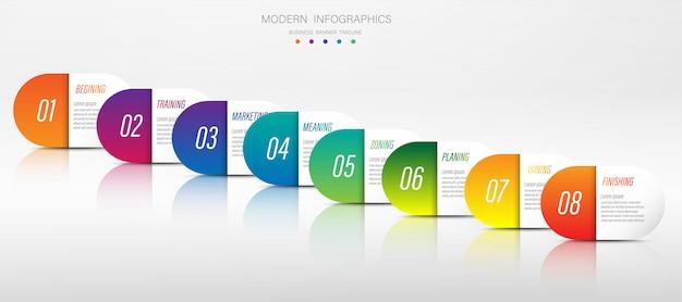 図プレゼンテーショングラフと6または8要素のオプションを持つビジネスコンセプトのベクトル情報グラフィックテンプレートのグラフ折り紙紙の色