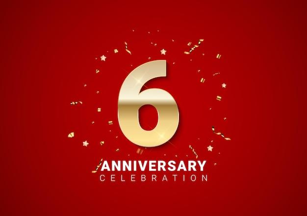 밝은 빨간색 휴일 배경에 황금 숫자, 색종이 조각, 별이 있는 6주년 배경. 벡터 일러스트 레이 션 eps10