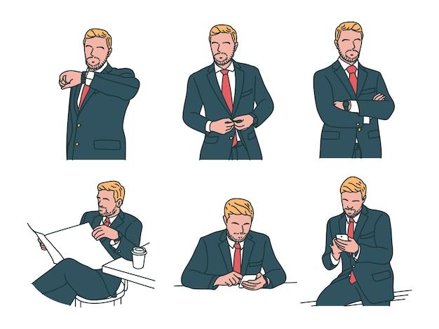 6 бизнес и финансы иллюстрация в современном стиле рисованной дизайна. профессиональный бизнесмен, рабочий в костюме смотрит на часы, застегивает костюм, скрещивает руки, читает газету, смотрит и проверяет свой телефон.