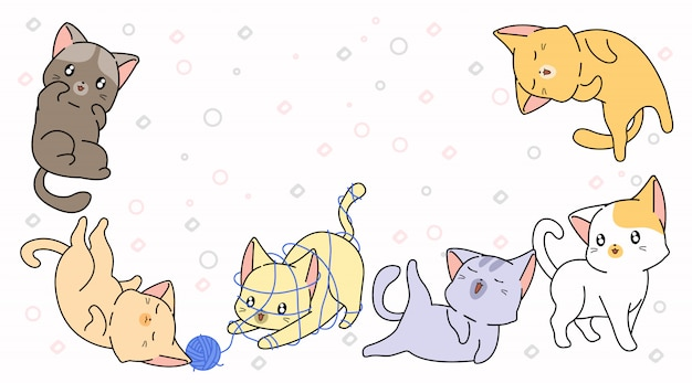6 cartoon little cats