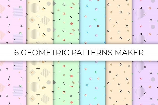 6 collections  of geometric seamless pattern in the pastel backdrop
