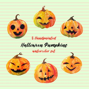 6 cute halloween pumkins watercolor set