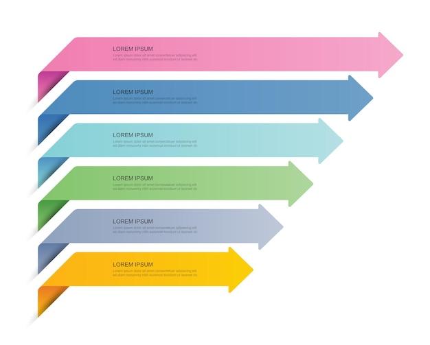 6 данных инфографика вкладка бумажный индекс шаблон llustration абстрактный фон