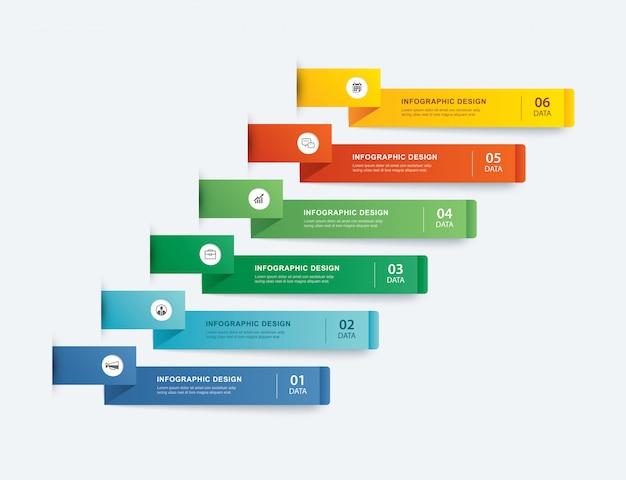6データインフォグラフィックタブ紙インデックステンプレート。ベクトルイラストの抽象的な背景。ワークフローのレイアウト、ビジネスステップ、バナー、webデザインに使用できます。