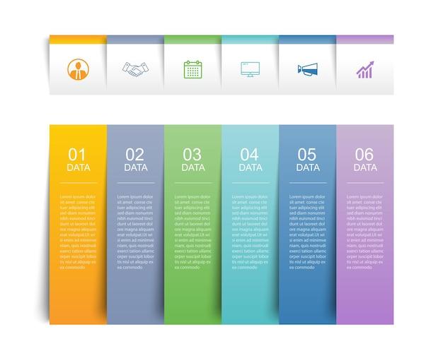 6データインフォグラフィックタブ紙インデックステンプレート。ベクトルイラスト抽象的な背景。