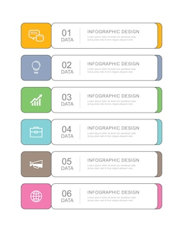 6 data infographics tab paper thin line index template.